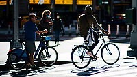 NEW YORK, NY - OCTOBER 15: People ride bikes at Times Square on October 15, 2020 in New York, At least 4,477 bicycles have been reported stolen with an increase of 27 percent from same period last year, according to the police. (Photo by Eduardo MunozAlvarez/VIEWpress)