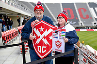 Washington, DC - Sunday JAN 26, 2020: Fans pose for a photo with the Defenders battle shield at the DC Defenders open house at  Audi Field in Washington, DC. (Photo by Phil Peters/Media Images International)