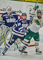 14 February 2015: University of New Hampshire Wildcat Defender Amy Schlagel, a Freshman from Blaine, MN, in third period action against the University of Vermont Catamounts at Gutterson Fieldhouse in Burlington, Vermont. The Ladies played to a 3-3 tie in their final meeting of the NCAA Hockey East season. Mandatory Credit: Ed Wolfstein Photo *** RAW (NEF) Image File Available ***