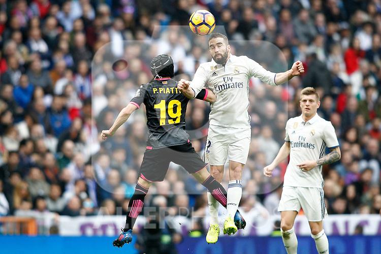 Real Madrid's Daniel Carvajal (r) and RCD Espanyol's Pablo Piatti during La Liga match. February 18,2017. (ALTERPHOTOS/Acero)