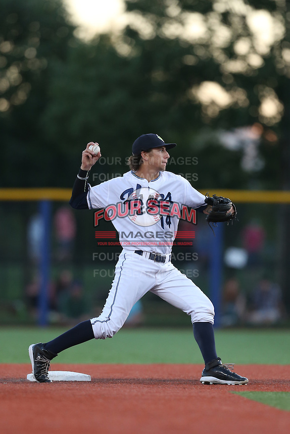 Galli Cribbs (14) of the Hillsboro Hops make a throw during a game against the Boise Hawks at Ron Tonkin Field on August 21, 2015 in Hillsboro, Oregon. Boise defeated Hillsboro, 7-1. (Larry Goren/Four Seam Images)