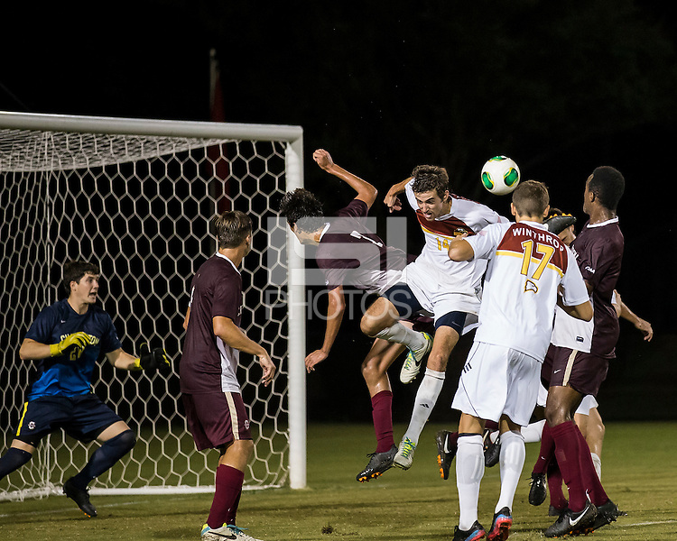 The Winthrop University Eagles played the College of Charleston Cougars at Eagles Field in Rock Hill, SC.  College of Charleston broke the 1-1 tie with a goal in the 88th minute to win 2-1.  Walker Johnson (14), Adriano Negri (17), Tanner Clay (5), Tucker Coons (3), Alex Young (28), Daan Brinkman (4)
