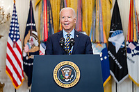 President Joe Biden delivers remarks on the drawdown of U.S. troops from Afghanistan, Thursday, July 8, 2021, in the East Room of the White House. (Official White House Photo by Adam Schultz)