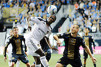 Edson Buddle (14) of the Los Angeles Galaxy heads the ball. The Los Angeles Galaxy defeated the Philadelphia Union  1-0 during a Major League Soccer (MLS) match at PPL Park in Chester, PA, on October 07, 2010.