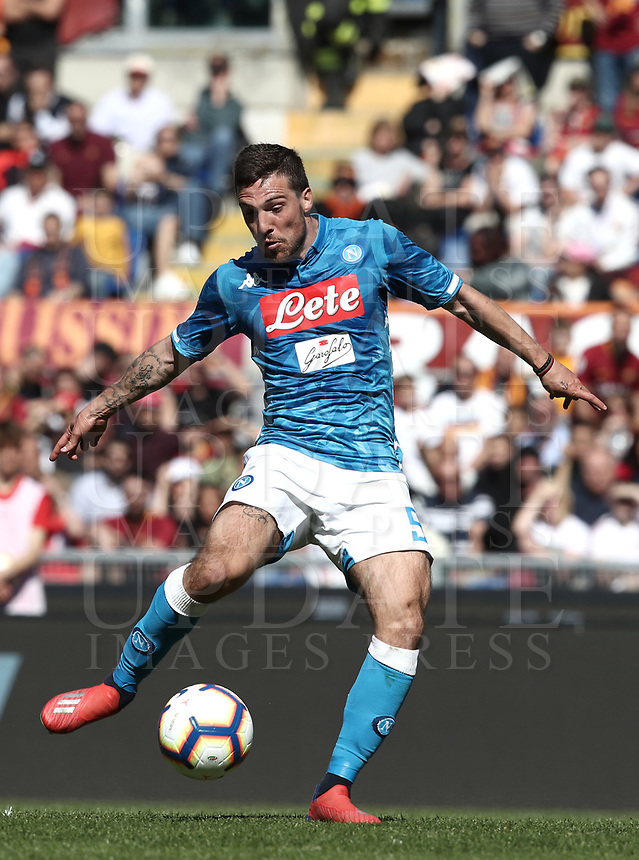 Football, Serie A: AS Roma - SSC Napoli, Olympic stadium, Rome, March 31, 2019. <br /> Napoli's Simone Verdi in action during the Italian Serie A football match between Roma and Napoli at Olympic stadium in Rome, on March 31, 2019.<br /> UPDATE IMAGES PRESS/Isabella Bonotto