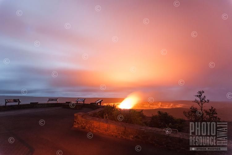 The Jagger Museum overlook offers a view of Halema'uma'u Crater, Hawai'i Volcanoes National Park, Big Island.