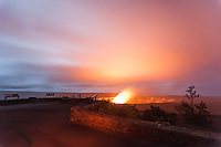 The Jagger Museum overlook offers a view of Halema'uma'u Crater, Hawai'i Volcanoes National Park, Big Island.