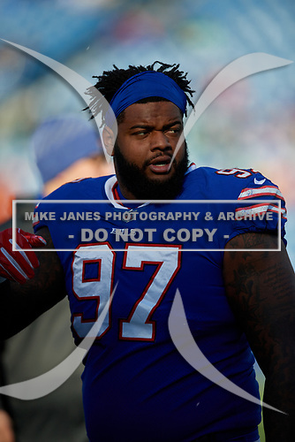 Buffalo Bills Jordan Phillips (97) during pre-game warmups before NFL football game against the New York Jets, Sunday, December 9, 2018, in Orchard Park, N.Y.  (Mike Janes Photography)