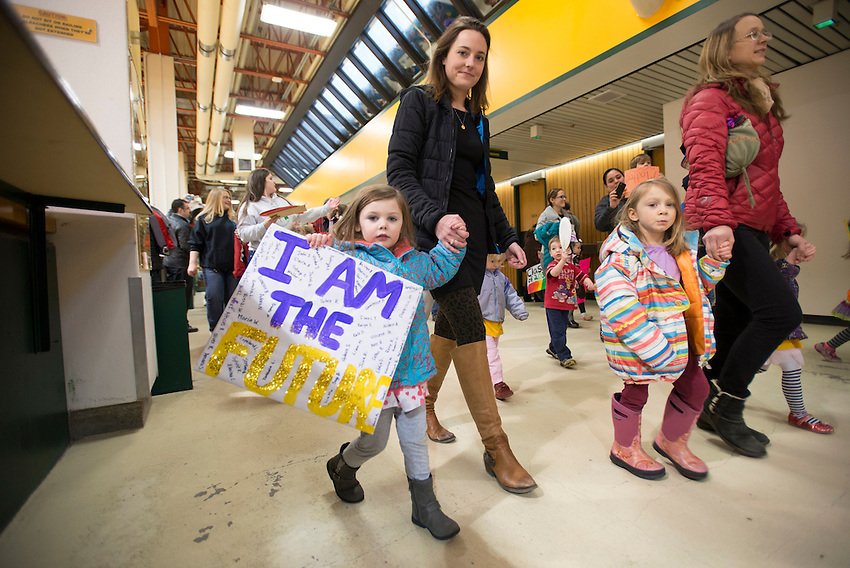 Parents and children march to protest the planned eviction of Tanaina Child Development Center from UAA.  The center, which has been on campus since 1979, received an eviction notice from UAA on January 28th and has until May 8th to relocate. Photo by James R. Evans /  The Northern Light