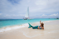 Mermaid on the beach at Buck Island National Monument<br />