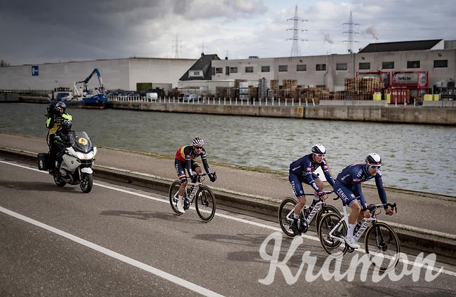 eventual race winner Jasper Philipsen (BEL/Alpecin-Fenix) racing at the back of the leading bunch along the canal<br /> <br /> 109th Scheldeprijs 2021 (ME/1.Pro)<br /> 1 day race from Terneuzen (NED) to Schoten (BEL): 194km<br /> <br /> ©kramon