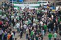 Celtic fans gather in Dam Square, Amsterdam, ahead of tonight's game against Ajax.