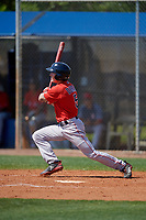 Boston Red Sox Jarren Duran (5) bats during a Minor League Spring Training game against the Tampa Bay Rays on March 25, 2019 at the Charlotte County Sports Complex in Port Charlotte, Florida.  (Mike Janes/Four Seam Images)
