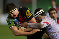 Charlie Matthews of Harlequins 'A' is tackled by Duncan Taylor of Saracens Storm during the Aviva Premiership A League Final between Harlequins A and Saracens Storm at the Twickenham Stoop on Monday 17th December 2012 (Photo by Rob Munro)