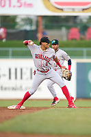 Great Lakes Loons shortstop Leonel Valera (8) turns a double play as second baseman Jorbit Vivas (10) looks on during a game against the Great Lakes Loons on August 28, 2021 at Classic Park in Eastlake, Ohio.  (Mike Janes/Four Seam Images)