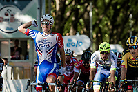 Arnaud Démare (FRA/Groupama-FDJ) wins the 101st Milano-Torino 2020 (UCI 1.Pro) in a very race-untypical bunch sprint<br /> (as the race was changed to a sprinters fest, to accomodate the Milano-Sanremo riders > due to the covid calender change)<br /> <br /> 1 day race from Mesero to Stupinigi (198km)