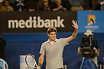 Roger Federer (SUI) wins at Australian Open in Melbourne Australia on 19th January 2013