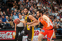 VALENCIA, SPAIN - APRIL 24: San Emeterio, Javier Beiran during ENDESA LEAGUE match between Valencia Basket Club and Iberostar Gran Canaria at Fonteta Stadium on April, 2016 in Valencia, Spain