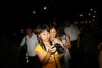 CHINA. Beijing.Tourists near the Olympic stadium. 2008