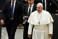 Pope Francis leaves at the end of his weekly general audience in the Paul VI hall at the Vatican, January 22, 2020.<br /> UPDATE IMAGES PRESS/Riccardo De Luca<br /> STRICTLY ONLY FOR EDITORIAL USE