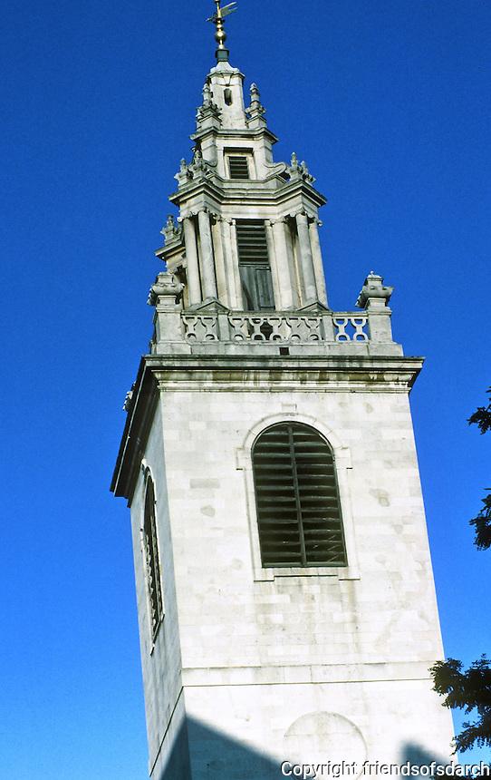 Sir Christopher Wren: St. James Garlickhythe. Steeple 1713. Photo '87.