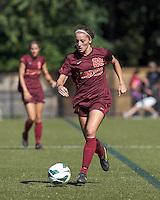 Virginia Tech forward Nicolette Young (28) brings the ball forward. Virginia Tech (maroon) defeated Boston College (white), 1-0, at Newton Soccer Field, on September 22, 2013.