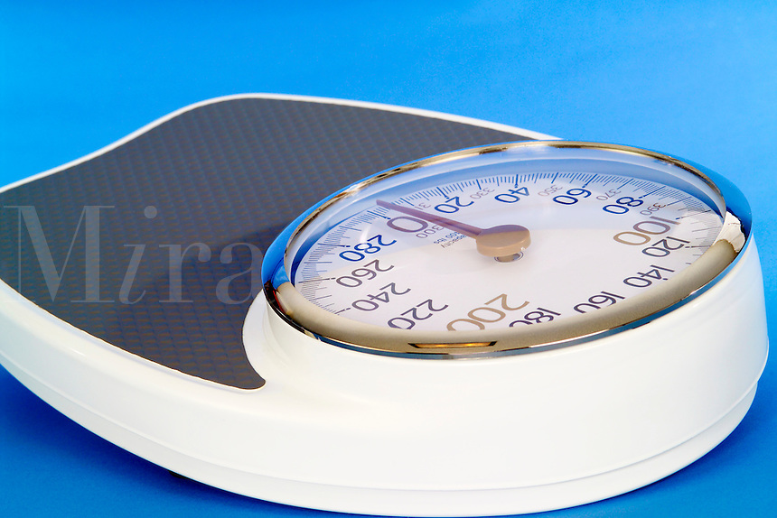 Close up of a bathroom weight scale