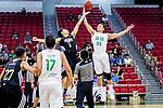 The opening tip between Tang Wing Lok #5 of Eagle Basketball Team and Ng Ka Ki #89 of Tycoon Basketball Team during the Hong Kong Basketball League game between Tycoon vs Eagle at Southorn Stadium on May 11, 2018 in Hong Kong. Photo by Yu Chun Christopher Wong / Power Sport Images