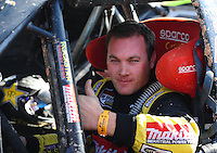 Dec. 10, 2011; Chandler, AZ, USA;  LOORRS pro four unlimited driver Kyle Leduc celebrates after winning round 15 at Firebird International Raceway. Mandatory Credit: Mark J. Rebilas-