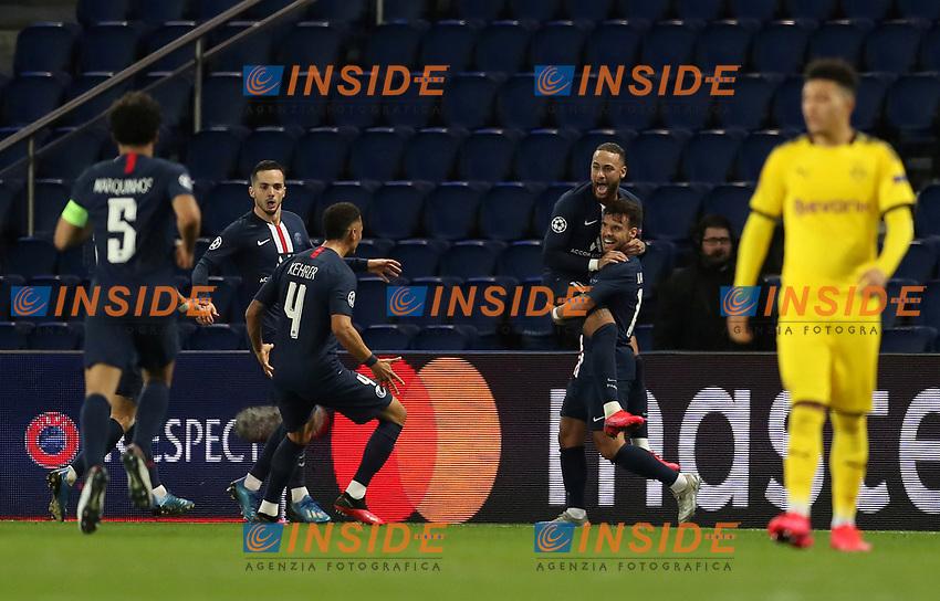 Paris St Germain's Juan Bernat celebrates scoring their second goal with Neymar and teammates    <br /> Photo Pool/Panoramic/Insidefoto