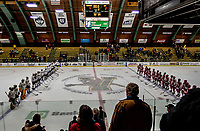 29 December 2018: The University of Vermont Catamounts and the Rensselaer Engineers line up for post-game ceremonies at Gutterson Fieldhouse in Burlington, Vermont. The Catamounts rallied from a 2-0 deficit to defeat RPI 4-2 and win the annual Catamount Cup Tournament. Mandatory Credit: Ed Wolfstein Photo *** RAW (NEF) Image File Available ***
