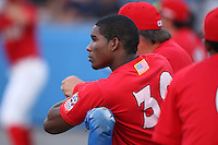 Batavia Muckdogs outfielder Rainel Rosario (30) during a game vs. the State College Spikes at Dwyer Stadium in Batavia, New York June 26, 2010.   State College defeated Batavia 9-8.  Photo By Mike Janes/Four Seam Images