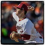 Daniel Lloyd (15) of the South Carolina Gamecocks pitches into the fading sunlight in the Reedy River Rivalry game against the Clemson Tigers on Saturday, March 2, 2019, at Fluor Field at the West End in Greenville, South Carolina. Clemson won, 11-5. (Tom Priddy/Four Seam Images)