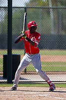 Cincinnati Reds outfielder Edwin Yon (80) at bat during an Instructional League game against the Oakland Athletics on September 29, 2017 at Lew Wolff Training Complex in Mesa, Arizona. (Zachary Lucy/Four Seam Images)