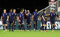 FORT LAUDERDALE, FL - DECEMBER 09: The USMNT celebrate a United States goal in unison during a game between El Salvador and USMNT at Inter Miami CF Stadium on December 09, 2020 in Fort Lauderdale, Florida.