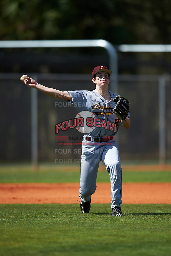 Central Michigan Chippewas third baseman Reed Adams (8) warmup throw to first base during a game against the Boston College Eagles on March 3, 2017 at North Charlotte Regional Park in Port Charlotte, Florida.  Boston College defeated Central Michigan 5-4.  (Mike Janes/Four Seam Images)
