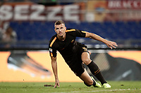 Calcio, Serie A: Roma, stadio Olimpico, 16 settembre 2017.<br /> Roma's Edin Dzeko celebrates after scoring  for the second time during the Italian Serie A football match between AS Roma and Hellas Verona at Rome's Olympic stadium, September 16, 2017.<br /> UPDATE IMAGES PRESS/Isabella Bonotto