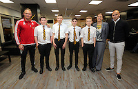 Pictured: Lee Trundle and Jonjo Shelvey pose with pupils rom Maesteg School Wednesday 25 November 2015<br /> Re: Schools take part in this year's Premier League Enterprise vent at Penderyn Suite, Liberty Stadium, Swansea, UK