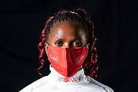 Brigid Kosgei (KEN) wears a mask as she poses for a portrait after taking part in a virtual and socially distanced press conference from inside the official hotel [location not disclosed] and biosecure bubble for the historic elite-only 2020 Virgin Money London Marathon on Sunday 4 October. The 40th Race will take place on a closed-loop circuit around St James's Park in central London. Thursday 1st October 2020. Photo: Bob Martin for London Marathon Events<br /> <br /> For further information: media@londonmarathonevents.co.uk