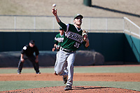 CARY, NC - FEBRUARY 23: Nick LePre #35 of Wagner College makes a pickoff throw to first base during a game between Wagner and Penn State at Coleman Field at USA Baseball National Training Complex on February 23, 2020 in Cary, North Carolina.