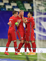 7th September 2020; Windsor Park, Belfast, County Antrim, Northern Ireland; EUFA Nations League, Group B, Northern Ireland versus Norway; Norway celebrate their second goal in the 7th minute to make the score 2-1 Norway