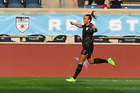 BRIDGEVIEW, IL - JULY 18: Mallory Pugh #9 of the Chicago Red Stars celebrates an OL Reign own goal during a game between OL Reign and Chicago Red Stars at SeatGeek Stadium on July 18, 2021 in Bridgeview, Illinois.