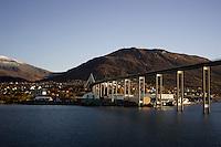Kvalsund bridge leading towards Tromso cathedral. Arctic Norway