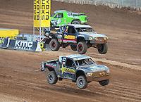 Mar. 19, 2011; Chandler, AZ, USA;  LOORRS pro two driver Rob MacCachren and Greg Adler during round one at Firebird International Raceway. Mandatory Credit: Mark J. Rebilas-US PRESSWIRE