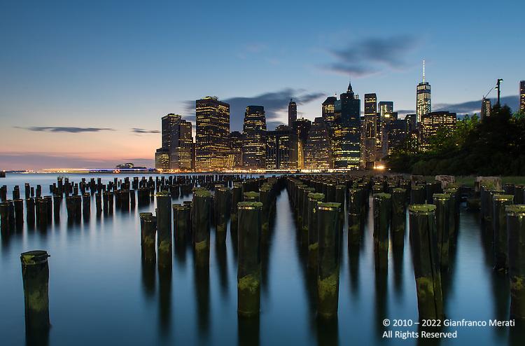 New York skyline by night