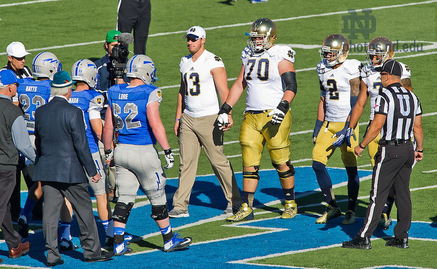 Oct. 26, 2013; Danny Spond (13) was one of the Irish captains for the Air Force game.