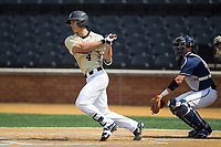 Stuart Fairchild (4) of the Wake Forest Demon Deacons follows through on his swing against the Pitt Panthers at David F. Couch Ballpark on May 20, 2017 in Winston-Salem, North Carolina. The Demon Deacons defeated the Panthers 14-4.  (Brian Westerholt/Four Seam Images)