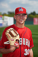 Auburn Doubledays pitcher Taylor Guilbeau (30) poses for a photo before a game against the Batavia Muckdogs on September 7, 2015 at Falcon Park in Auburn, New York.  Auburn defeated Batavia 11-10 in ten innings.  (Mike Janes/Four Seam Images)