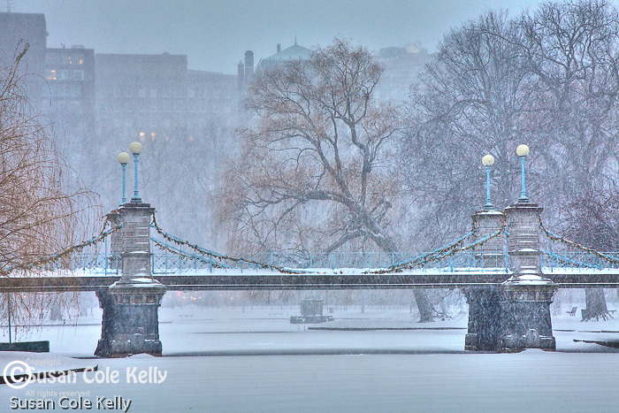 Fresh snow on the Victorian bridge in the Boston Public Garden, Boston, MA