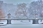 Fresh snow on the Victorian bridge in the Boston Public Garden, Boston, MA